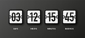 Countdown clock. Mechanical white scoreboard isolated on black background. Days, hours, minutes and seconds. Vector.
