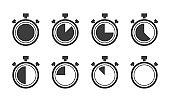 Stopwatch big gray icons set. Timer symbols on white background. Different time. Vector