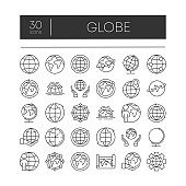 Big set of 30 globe related outline icons on white background. Thin line vector icons for website design and development, app development. Top zone for title set. Vector illustration.