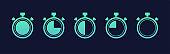 Stopwatch icons set. Timer symbols on dark blue background. Vector