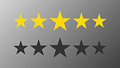 Two strokes five stars customer product rating review flat icon for apps and websites on white background. Feedback stars. Vector