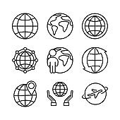 Globe linear icons on white background. Mini set signs. Vector.