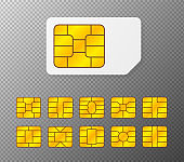 Realistic global collection phone sim card with different EMV chips. Nfc chip for credit card security isolated on white background. Big set elements. Vector.
