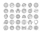 Big set of globe related outline icons on white background. Thin line vector icons for website design and development, app development. Vector illustration.