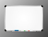 Whiteboard for markers. Presentation, empty projection screen. Office and study tool isolated on tranperent background. Vector.