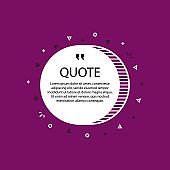 Hand drawn Speech Bubble. Marker object. Geometric design. Space for quote and text. Violet background. Vector