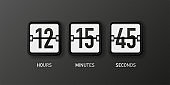 Countdown clock. Mechanical white scoreboard isolated on black background. Hours, minutes and seconds. Vector.