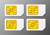 Realistic global collection phone sim card with different EMV chips. Nfc chip for credit card security isolated on white background. Vector.