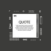 Hand drawn Speech Bubble. Square object. Geometric design. Space for quote and text. Gray background. Vector