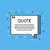Hand drawn Speech Bubble. Message object. Geometric design. Space for quote and text. Blue background. Vector
