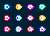 Collection arrows bullet point triangle flags isolated on dark blue background. Colorful gradient markers. Number from 1 to 12. Vector