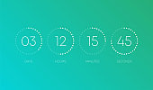 Countdown clock on green gradient background. Line signs. Abstract. Vector