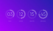 Countdown clock on orange gradient background. Line signs. Abstract. Vector