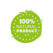100 percent netural.Fresh healthy organic vegan food logo labels and tags the green color. Vector hand drawn