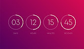 Countdown clock on purple gradient background. Line signs. Abstract. Vector