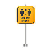 Social distancing keep your distance 1 meter or 6 feet road sign. Keep safe distance. Vector.