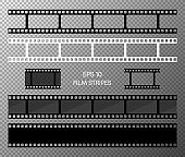 Set of film vector stripes isolated on transparent background. Film strip roll. Vector cinema background. EPS 10. Vector