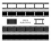 Set of film vector stripes isolated on white background. Film strip roll. Vector cinema background. EPS 10. Vector