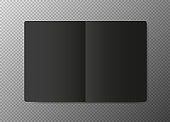 Realistic blank black open paper template on transparent background. Notebook Vector.
