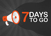 Megaphone seven days to go countdown template with red objects on gray pop background. Vector