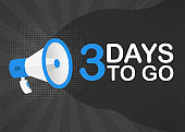 Megaphone three days to go countdown template with blue objects on gray pop background. Vector