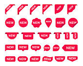 Big set with stickers for new arrival shop product tags, new labels or sale posters and banners vector sticker icons templates on white background. Vector illustration.
