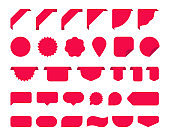 Big set with red stickers for tags, new labels and banners vector sticker icons templates on white background. Vector illustration.