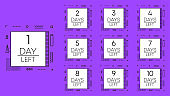 Collection numbers days left countdown template on purple background. Geometry design. Vector