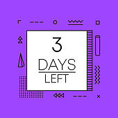 Timer three days left countdown template on purple background. Geometry design. Vector