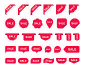 Red Sale Label Collection Big Set. Sale tags. Discount red ribbons, shopping tags, banners and icons. Sale icons. Elements isolated on white background. Vector illustration.