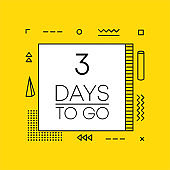 Timer three days to go countdown template on yellow background. Geometry design. Vector