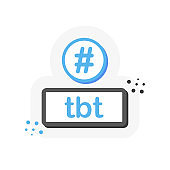 Tbt hashtag thursday throwback symbol message illustration chat. 3D flat banner. Vector.