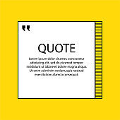 Hand drawn Speech Bubble. Square object. Geometric design. Space for quote and text. Yellow background. Vector