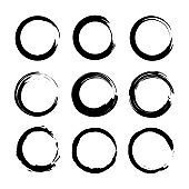 Set circles line textured hand drawn abstract of black color isolated on white background. Vector