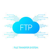 FTP server transfer files system. Blue gradient objects on white background. Vector.