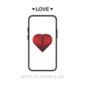 Vector happy valentines day message with love on screen phone. Isolated holidays message illustration on white background. Vector