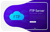 FTP server transfer files system on browser window and gradient abstract background. Vector