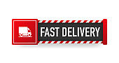 FAST DELIVERY green sign. Striped frame. Banner isolated on white background. Vector.