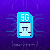 Mobile phone 5G network logo sim card on gradient abstract background. Vector