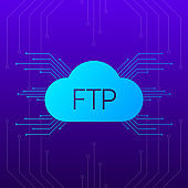 FTP server transfer files. Blue gradient objects on dark abstract background. Vector.