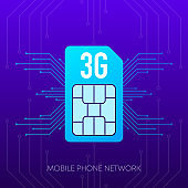Mobile phone 3G network logo sim card on gradient abstract background. Vector