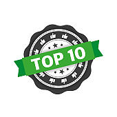 Top 10 stamp with green ribbon. Sign. Vector.