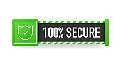 100% SECURE green sign. Striped frame. Banner isolated on white background. Vector.