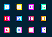 Collection buttons bullet point triangle square flags isolated on dark blue background. Colorful gradient elements. Number from 1 to 12. Vector