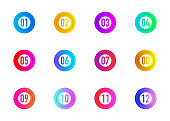 Collection circles bullet point triangle flags isolated on white background. Colorful gradient markers. Number from 1 to 12. Vector