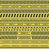 Set warning tapes coronavirus on transparent background. Vector