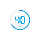 40 minute. Timer, clock, stopwatch isolated blue icons on white background. Vector