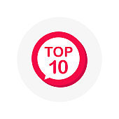 Top 10 red sign. Button Design in Flat Style on white background. Vector illustration.