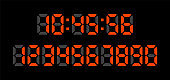 Digital clock numbers on black background. Set red numbers. Vector