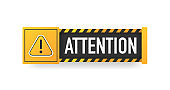 Attention sign. Hazard warning caution board. Striped frame. Danger banner isolated on white background. Vector.